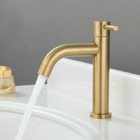 Rubinetto da bagno rubinetto in acciaio inox rubinetto per lavabo singolo acqua fredda rubinetto singolo maniglia con impugnatura a ponte in oro spazzolato
