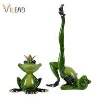 Vilead résine Figurines de grenouille de grenouille Jardin Artisanat Décoration Porche Magasin Animal Ornements Salle intérieur Accueil Accessoires 210728