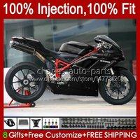 Injection Bodys For DUCATI Gloss black 1198R 848 1098 1198 S R 2007 2008 2009 2010 2011 2012 18No.43 Bodywork 848S 1098S 1198S 848R 1098R 07 08 09 10 11 12 OEM Fairing Kit