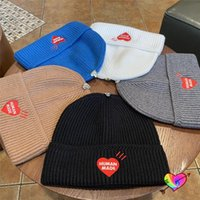 Beanies 2021FW Human Made Beanie Men Women High Quality Red Embroidered Heart Logo Cap Metal Mark Hats