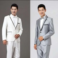 Singer Stage Clothing For Men Suit Set With Pants Mens Wedding Suits Costume Groom Formal Dress Tie Fashion White Silver Grey Men's & Blazer