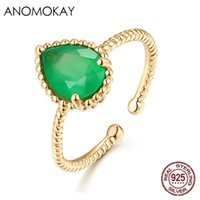 Cluster Rings Vintage Elegant Big Oval Green CZ Crystal Gold Color For Fashion Birthday Gift 100% Sterling 925 Silver Resizable