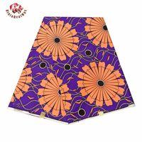 Анкара Африканские отпечатки Batik Real Wax ткань фиолетовый фон Цветочные ремесла Материал 100% полиэстер высокое качество TSSU FP6317