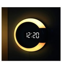 3d Led Digital Wall Clock Alarm 7 Colors Mirror Hollow Watch Table Temperature Nightlight Decor Desk & Clocks