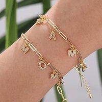 Simples Geométrico Cristal Chain Chain Bangle Bracelets para Mulheres Punk Mãe Encantadora Pingente Pulseira Dia Mãe Jóias Presente Charme