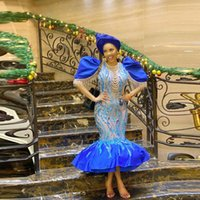 Blue Mermaid Short Evening Dresses Illusion Sequin Trumpet Prom Gowns 2021 Pearls Puffy Cap Sleeve Robe De Soiree