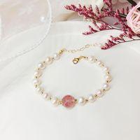 Бисером, пряди жемчужина браслет из бисера для женщин девушка простой ручной работы розовый клубника кристалл бисер цепные браслеты мода ювелирные изделия друг GI