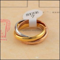 Band Jewelryclassic Three-Rings Ring For Men Women Couple Fashion Simple Style With Three Colors Rose Gold Rings Drop Delivery 2021 Jomlw