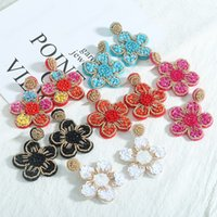 Pink Flower Dangle Earrings for Women High Quality Handmade Beaded Statement Drop Earring Spring Summer Bohemia Jewelry
