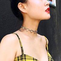 Cute Heart Shape Hollow Choker For Women Love Silver Color Short Necklace Alloy Minimalist Jewelry Chokers