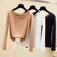 Women's T-Shirt Shintimes hollow loop out women's T-shirt long fall tops Korean clothes female shirt L3O7