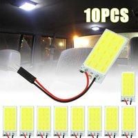 5pcs / 10pcs Panneau LED Dome Lecture Lampe Lampe Lampe COB 15 SMD Voiture Plaque intérieure Auto Ampoule W5W Feston T10 Adaptateur LED