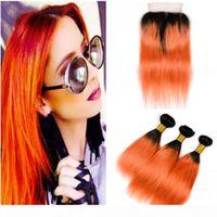 Seidiges Gerade Brasilianisches Ombre Orange Menschliches Haar-Bündel-Angebote 3 stücke mit Verschluss T1b Orange Ombre-Jungfrau-Haarwebart mit 4x4-Spitzenverschluss