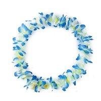 Decorative Flowers & Wreaths 4pcs set Hawaiian Hula Flower Garland Set Lei Luau Fancy Dress Beach Part Necklace Headband Wristband