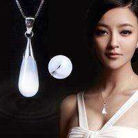 Set di gioielli in cristallo austriaco Set di gioielli in argento sterling in argento sterling catena grande goccia d'acqua collane opale matrimonio PS2949