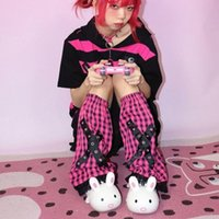 Socks & Hosiery Pink Plaid Punk Foot Sock Women Pastel Goth Harajuku Vintage Leg Warmer Y2k Aesthetic Alt Baggy Knee Sleeve Korean Fashion