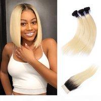 1b 613 Paquetes de tejido recto de Ombre Blonde Brasileño con cierre 3 paquetes con cierre de encaje 4x4 100% Remy Human Hair Extensions