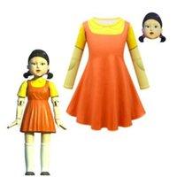 6PCS DHL Squid Game Round Six 123 Wooden Man Girl Dress Girls Women Cosplay Costume Yellow T shirt Orange Dreses Halloween Christmas Clothing H1011SR4H