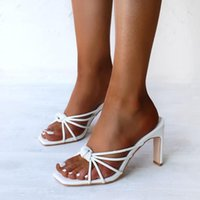 Dress Shoes NAUSK Summer Fashion Narrow Band White Women Mules Sexy High Heels Womens Slippers Sandals Square Open Toed Ladies