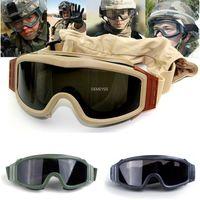 군사 airsoft 전술 슈팅 안경 오토바이 windproof paintball cs wargame 고글 3 렌즈 검은 황갈색 녹색