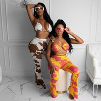2020 Autumn Winter New Fashion Women Two Piece Set Sexy Hollow Camouflage Print Bra and Pants Club Outfits Clothes Streetwear