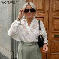 Wotwoy Longo Manga Branca Malha Blusa Camisa Verão Oco Out Escritório Senhora Blusas Mulheres Transparentes Lace Tops Femme 2021