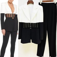 European and American catwalks suit Contrasting color stitching waist see-through blazer + trousers