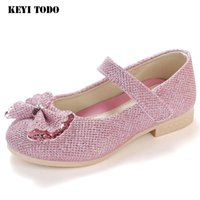 Sneakers Princess Girl Single Shoes Spring Soft Bottom Leather 2021 Autumn Children Baby Crystal 716