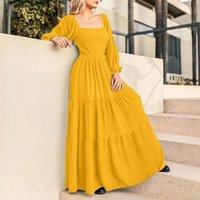 Casual Dresses Autumn Long Sleeve Square Collar Dress VONDA 2021 Pleated A-line Maxi Puff Bohemian Vestidos Oversized Sundress
