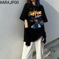Женская футболка 2021 летние корейские ins модный хараджуку Гонконг стиль смешное письмо печати с короткими рукавами пуловер Thirts женщин