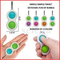 Party Favor Push Bubble simple dimple Key Ring Fidget Pop Toys Keychain Kids Adult Novel Squeeze Bubbles Puzzle Finger Fun Game Fidgets Toy Stress Relief