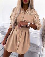 Женщины Гусиные платья Кружева Кнопка Дизайн Рубашка Платье Свины Кармана С Длинным Рукавом Мини Линия Леди высокая талия