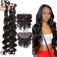 Human Hair Bulks 28 30 36 40 Inch Brazilian Virgin Remy Body Wave Weave Bundles With 13x4 Lace Frontal Closure Extension