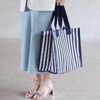 Simple stripe canvas leisure large capacity hand shopping book storage bag femaleCYN4