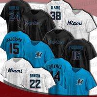 말린스 22 샌디 Alcantara 14 Adam Duvall Jersey Miami 24 예수 Aguilar 15 Brian Anderson Jerseys Miguel Rojas Jorge Alfaro Starling Marte