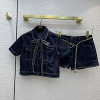 2021 kadın iki parçalı pantolon yaka boyun kısa kollu baskı ceket ve şort markası aynı stil 2 parça setleri 0616-1