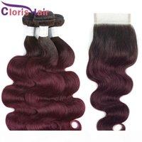 Full 4pcs Burgundy Ombre Human Hair Tissu Fermeture Colorure 1B 99J Vierge Vierge Indienne Vague EXTENDUES DE VAGUE DU CORPS 3 BUNDLES AVEC FERMETURRE DE LA DACE 4X4