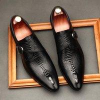 Negócio masculino de couro formal sapatos do sexo masculino britânico crocodilo padrão fivela casamento monge vinho vermelho vestido