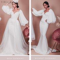 Elegant Mermaid Wedding Dresses with Detachable Overskirt Long Sleeve Sweep Train Chapel Garden Bridal Gowns vestidos de novia robes de mariage