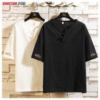 Sinicism Store 2021 Hommes Broderie T-shirts Col O-Coux Hommes Tees d'été pour hommes Vêtements mâles Chinois Style chinois surdimenseur 5xl T-shirts