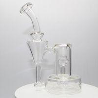 Glass Bong Hookah Recycler Dab Rig Rig Fumando Tubulação Exclusiva Matriz Árvore Perc 7 polegada Altura Waterpipe 1 quartzo Banger para presente