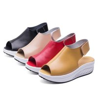 Sandals Fashion Summer Women Shake Shoes Thick Wedges Slope Platform Head Leather