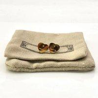 로고 럭셔리 커플 심장 귀걸이 여성 스터드 플란넬 가방 스테인레스 스틸 10mm 피어 싱 바디 쥬얼리 선물 여자 액세서리에 대 한 도매
