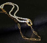 2021 Девушки Ожерелье Титановая сталь Ювелирные Изделия Аксессуары Мода Ретро Темперамент Форма Пряжка Простая Натуральная Пресноводная Жемчужина
