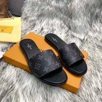 패션 여성 신발 여러 가지 빛깔의 디자이너 슬리퍼 낙서 샌들 로고 박스와 함께 정품 소 가죽 가죽 신발 플랫 슬리퍼 dqshoe01 59