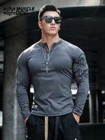 Muscledog Тренировка Одежда Мода Бренд Печать Стремясь Быстрые Колготки Бегущие Обучение Фитнес Спортивные Футболка Футболка Мужчины Мужчины