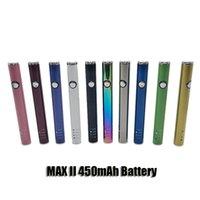 Max II 2 Bateria 450mAh Vaia Vape Vape Pen Bottom Kit de carregamento USB para 510 carrinhos de carruagem de óleo de espessura de 510