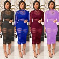 Frauen Designer Kleider 2021 Sexy Mid Long Rock Solide Color Mesh Drei Stück Damenanzug DHL