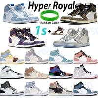 Classico 1 1s scarpe da basket hyper roya metà rosa quarzo la a chicago zoom zoom bianco racer blu pallido avorio uomo da donna scarpe da ginnastica