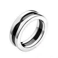 Stainless Steel White Black Ceramic Ring Thin 7MM Wedding Band Jewelry Birthday Gifts for Women Teen Girls Size from 5 to 12